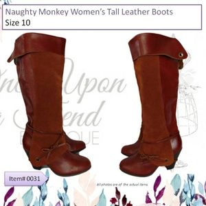 Naughty Monkey Womens Tall Leather Boots Size 10